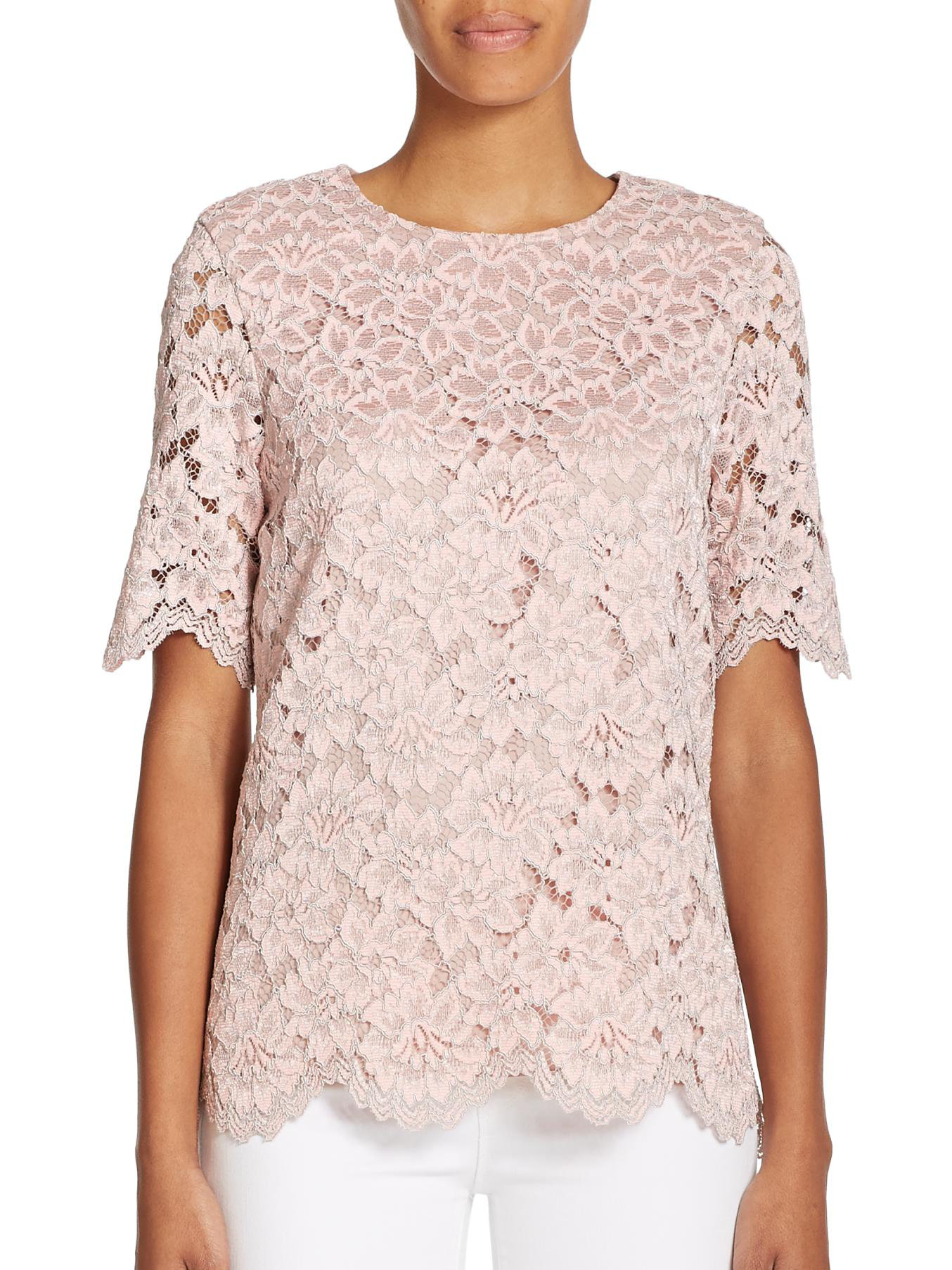 Lyst - Alexis Iris Lace Top in Pink