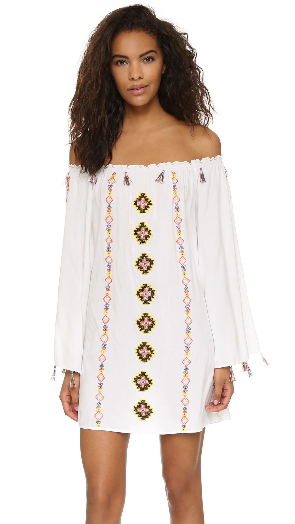 Lyst pia pauro off shoulder embroidered beach dress in white