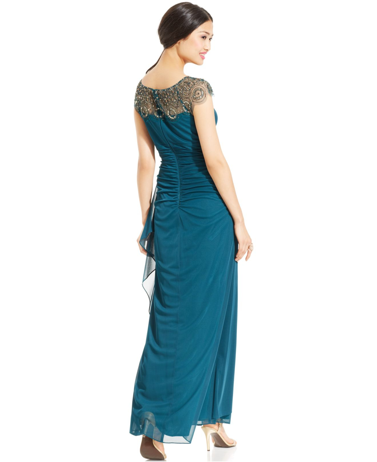 a6dc18d72 Xscape Petite Cap-sleeve Illusion Beaded Gown in Green - Lyst