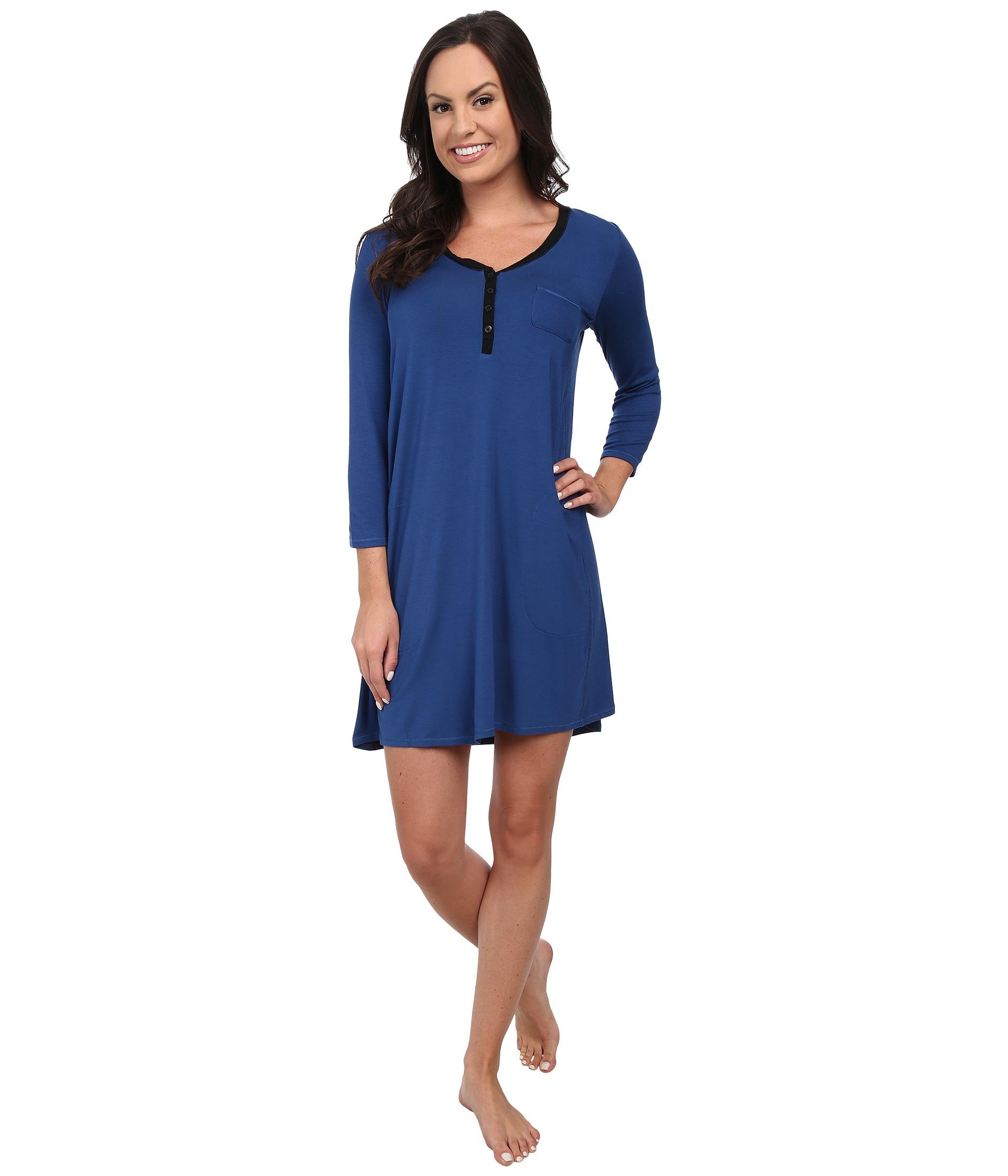 Lyst - Dkny Urban Essentials 3 4 Short Sleeve Sleepshirt in Blue ea2f5d2d9