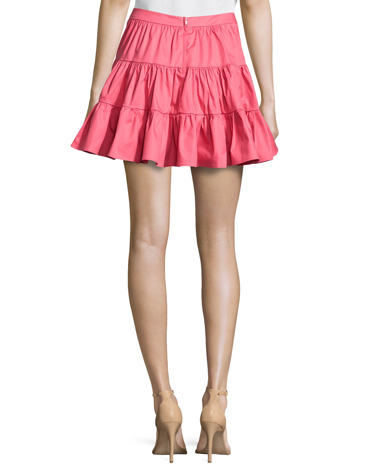 eafaf8fc4 RED Valentino Pleated Tiered Circle Skirt in Pink - Lyst