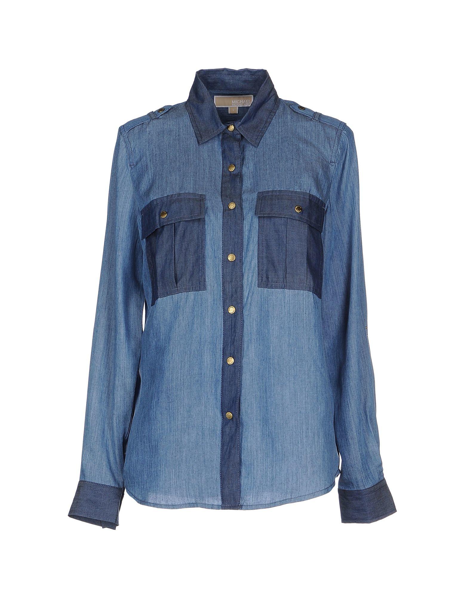 michael michael kors denim shirt in blue lyst. Black Bedroom Furniture Sets. Home Design Ideas
