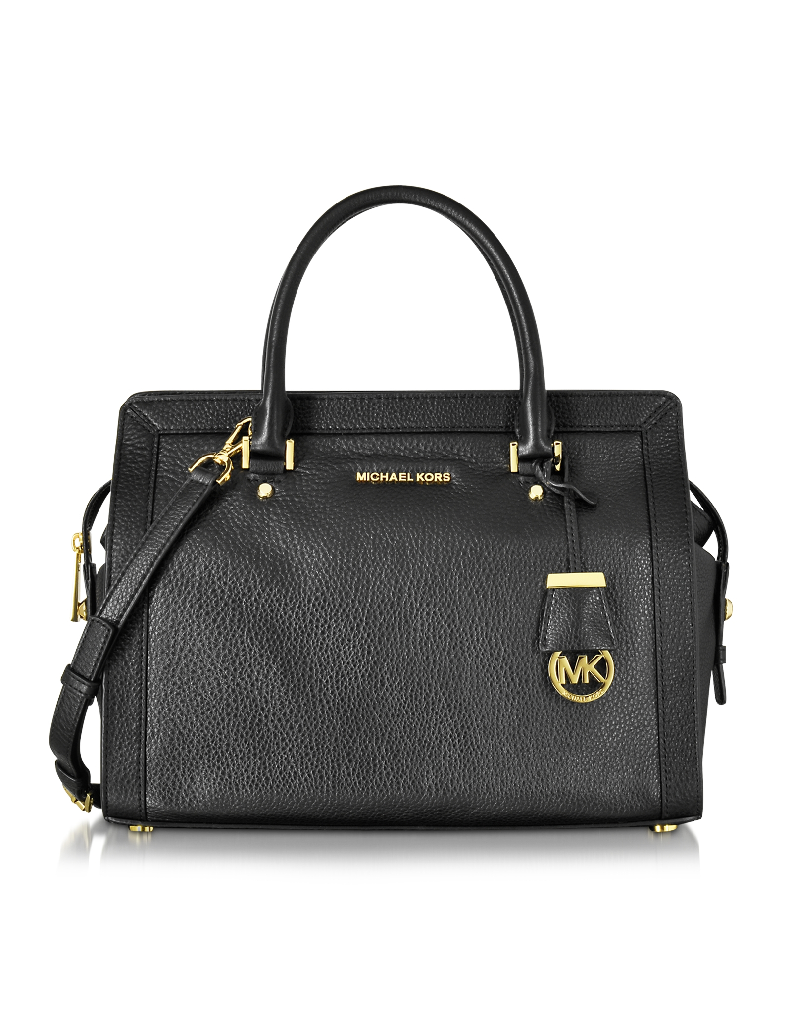Michael kors Collins Large Leather Satchel Bag in Black | Lyst