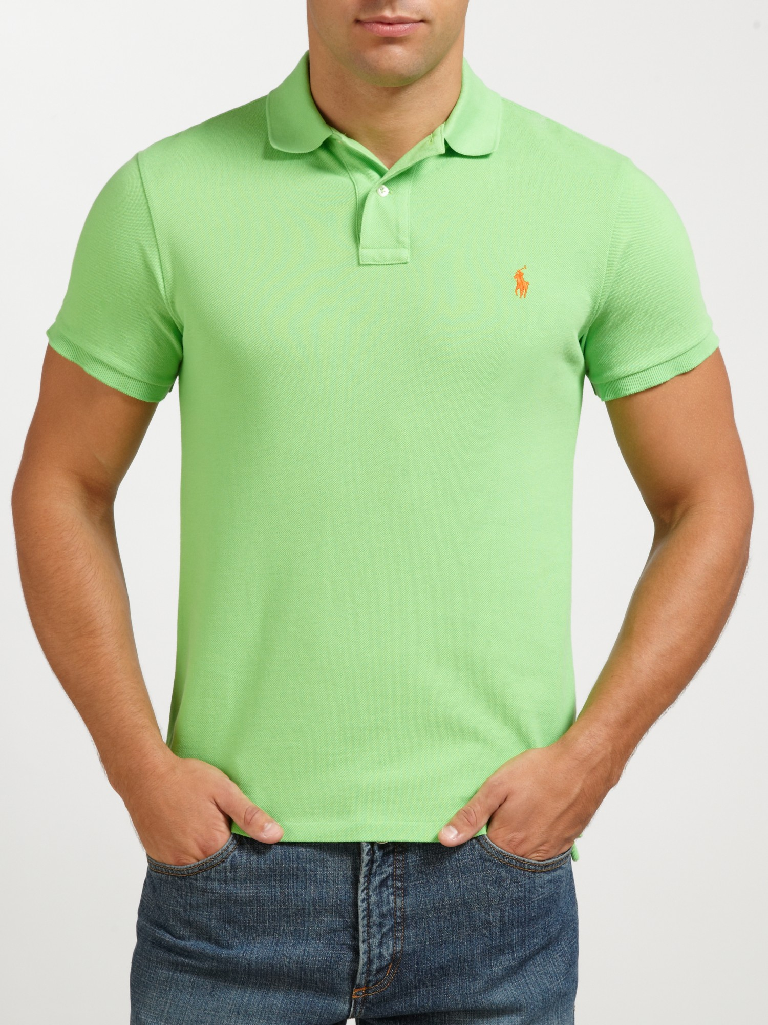 polo ralph lauren slim fit polo shirt in green for men lyst. Black Bedroom Furniture Sets. Home Design Ideas
