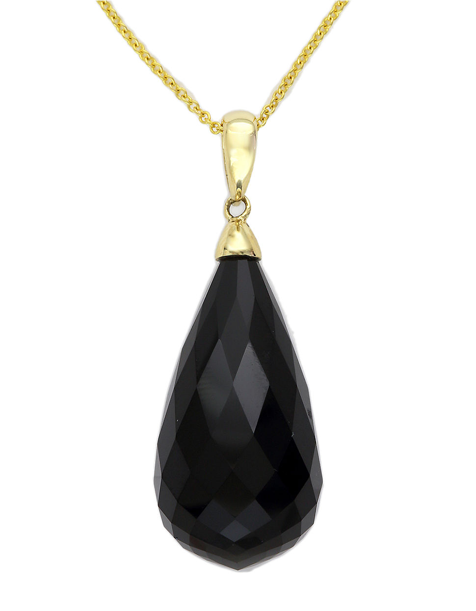 effy 14k yellow gold and onyx pendant necklace in metallic