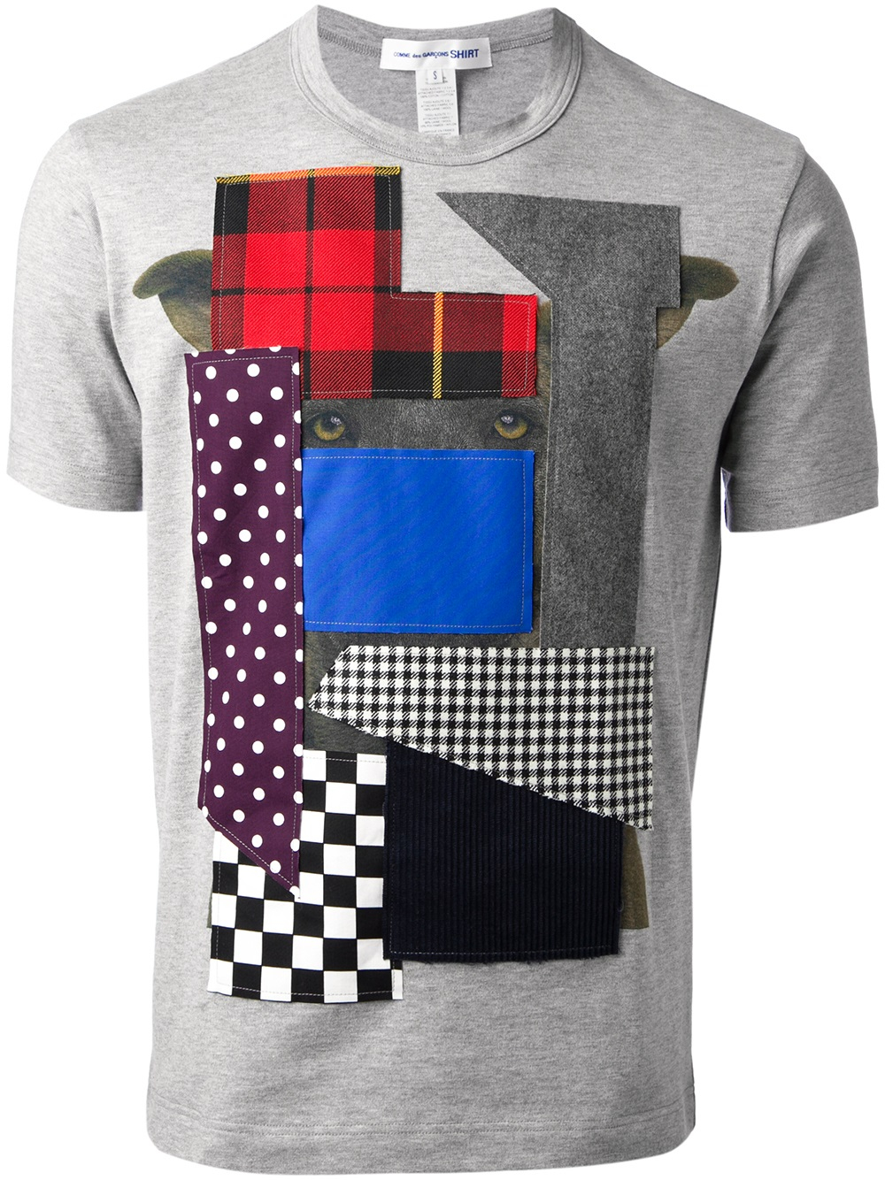 comme des gar ons patchwork tshirt in gray for men lyst. Black Bedroom Furniture Sets. Home Design Ideas