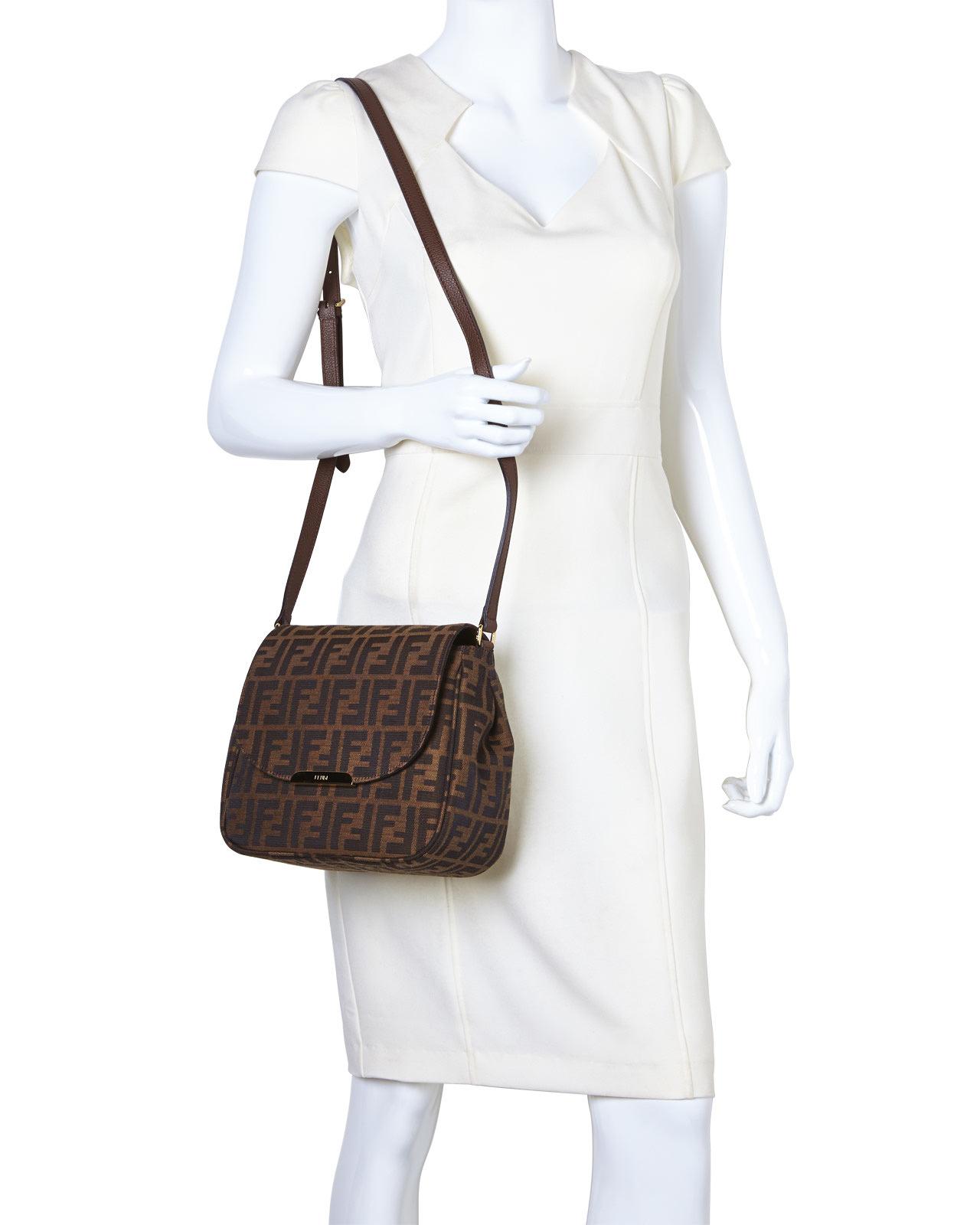 cac44a4eda ... purchase lyst fendi zucca crossbody bag in metallic 96387 ed5d6