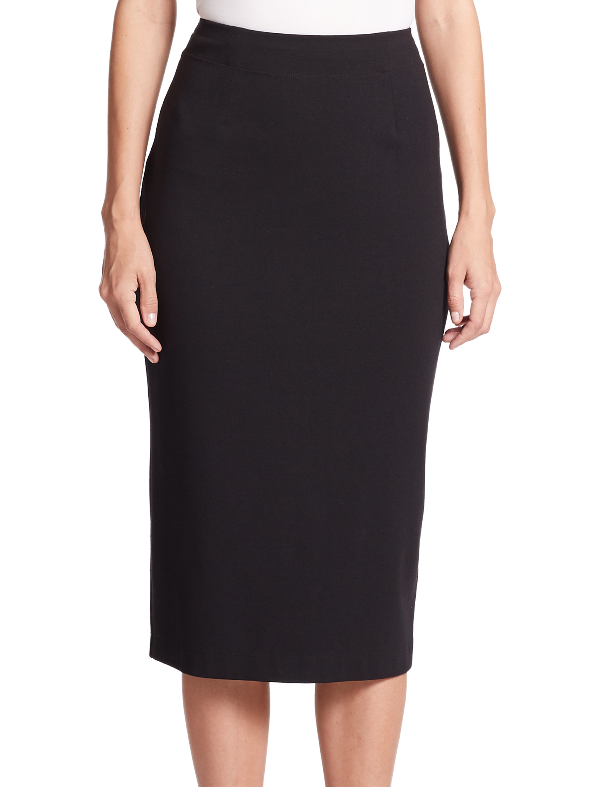 eileen fisher stretch ponte pencil skirt in black lyst