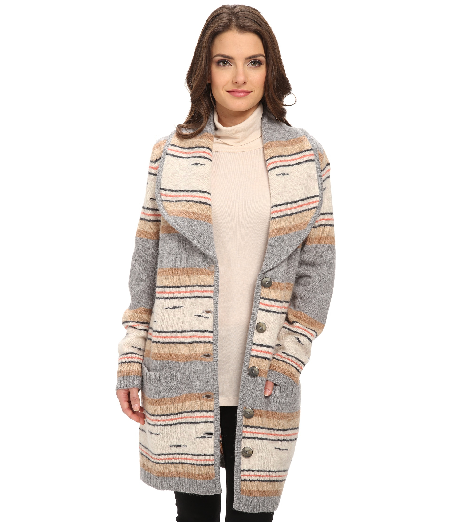 Pendleton Petite Stripe Sweater Coat in Gray | Lyst