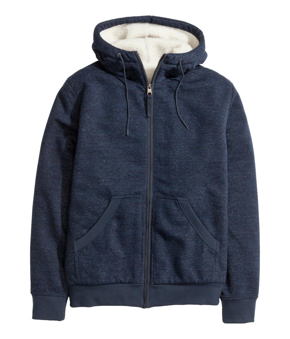 H Amp M Pile Lined Hooded Jacket In Dark Blue Blue For Men