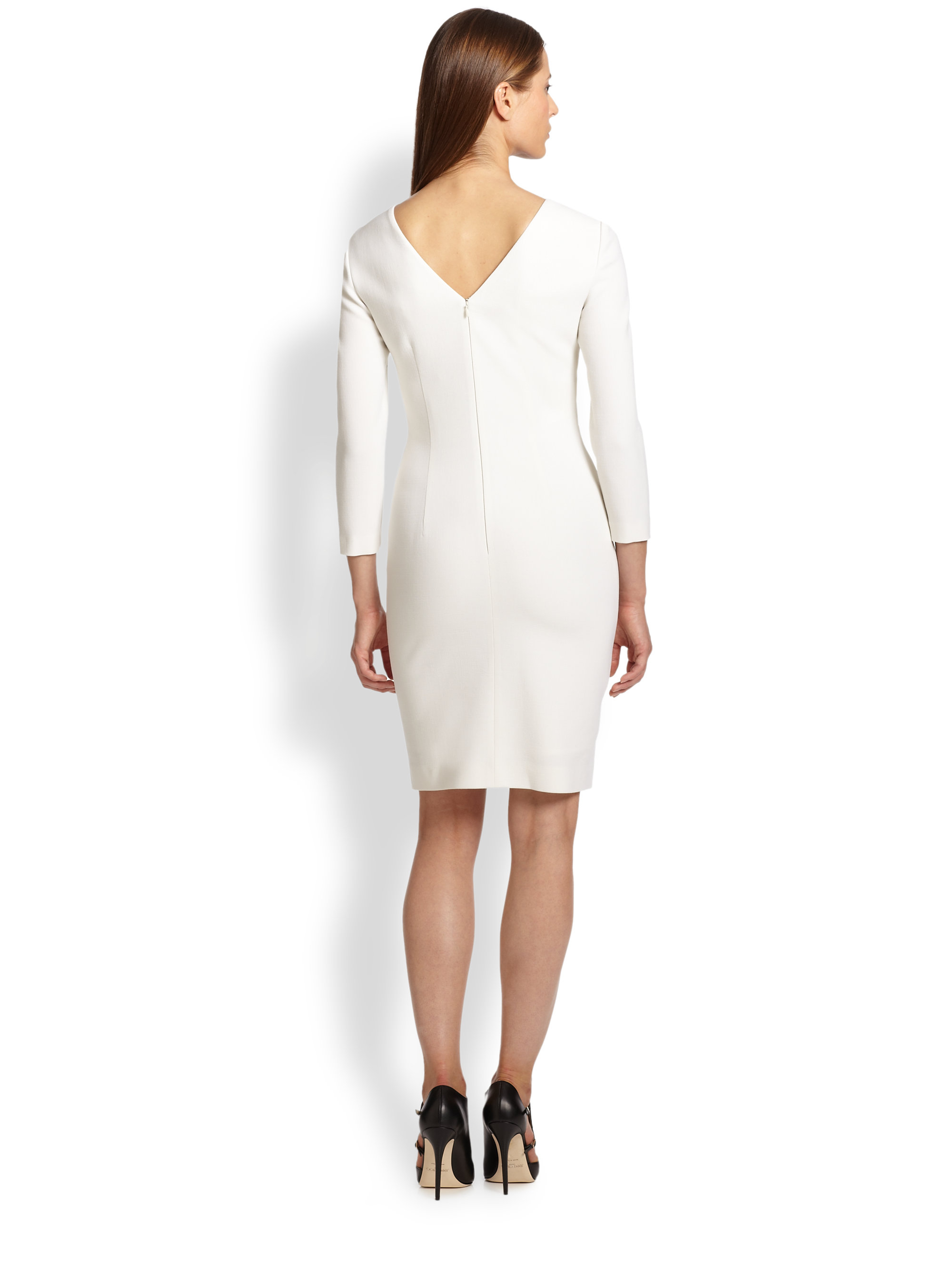 Emilio pucci Ruched Stretch Wool Dress in White | Lyst