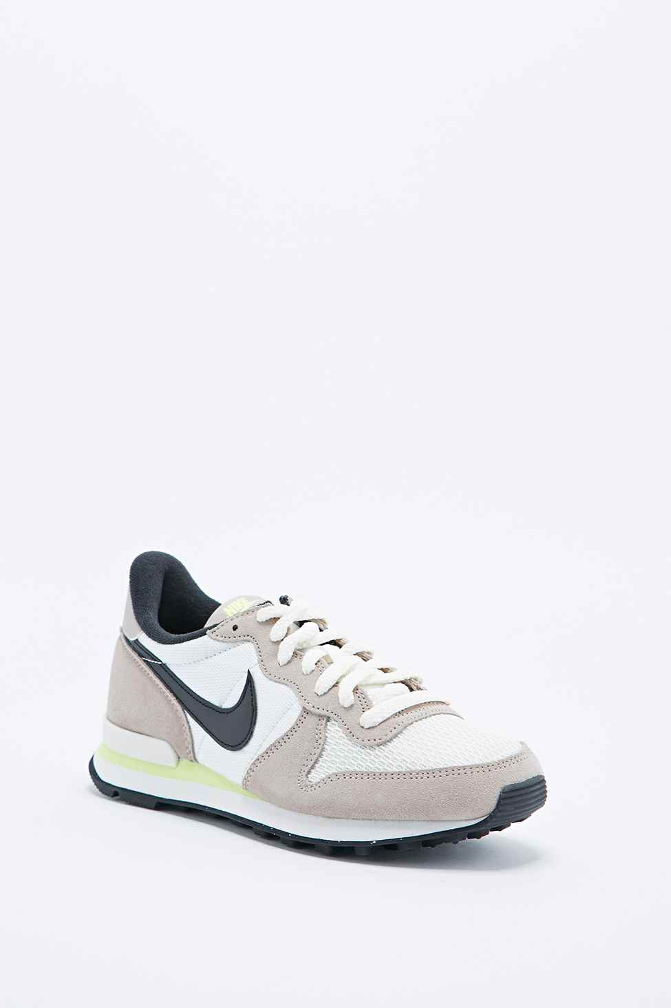 best service d368d 567a3 ... purchase nike internationalist trainers in grey and lime in white lyst  7d8f1 774fb