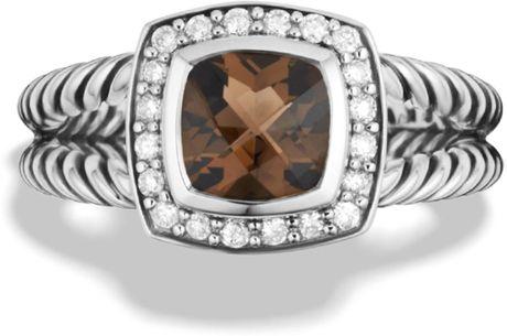 David Yurman Petite Albion Ring with Smoky Quartz Diamonds in Silver
