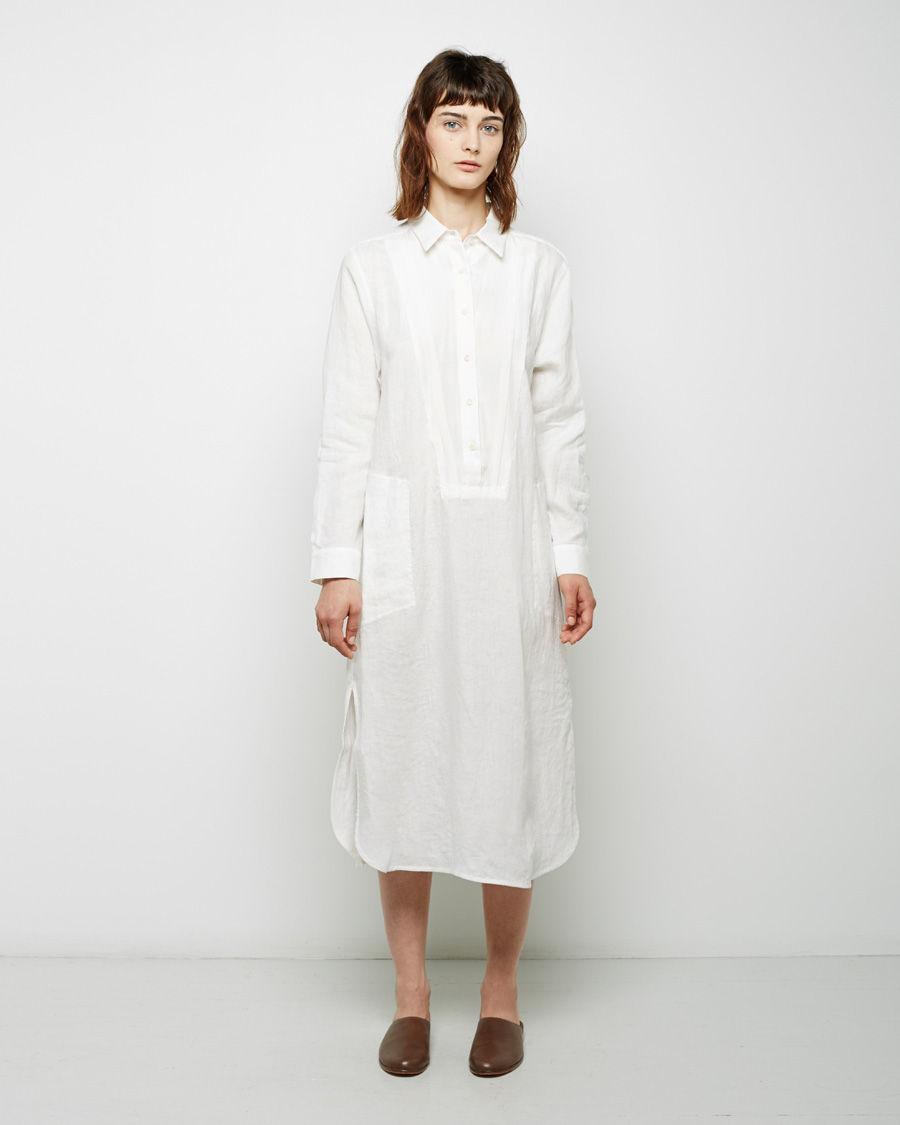 Raquel allegra collared linen shirt dress in white lyst for White linen dress shirt