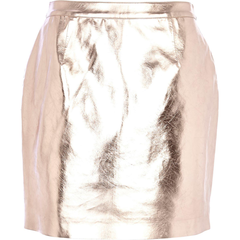 66b08d27a River Island Rose Gold Metallic Leather-Look Mini Skirt in Metallic ...