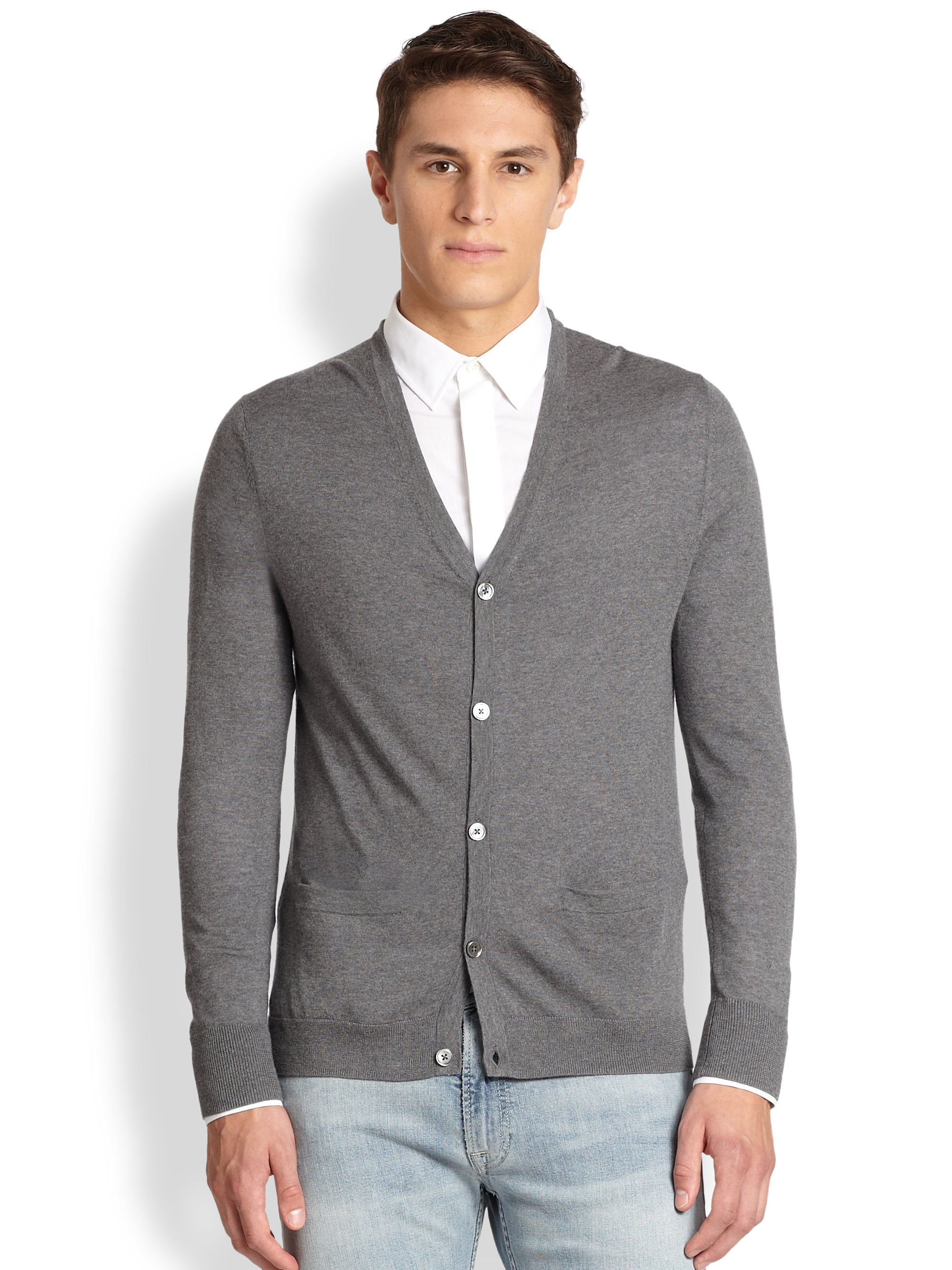 Acne studios Clissold Light Weight Wool Cardigan in Gray for Men ...