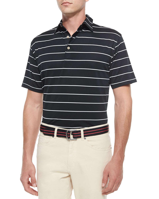 Lyst peter millar striped short sleeve mesh polo shirt for Peter millar polo shirts