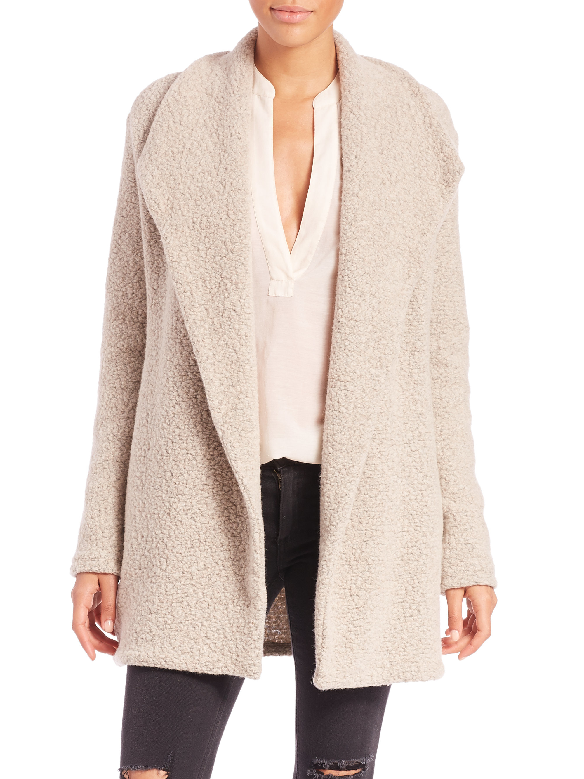 James perse Fleece Draped Open-front Cardigan in Natural | Lyst