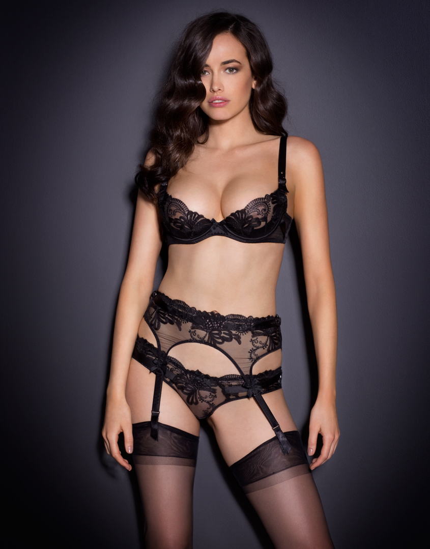 agent provocateur larizsa suspender black in black lyst. Black Bedroom Furniture Sets. Home Design Ideas