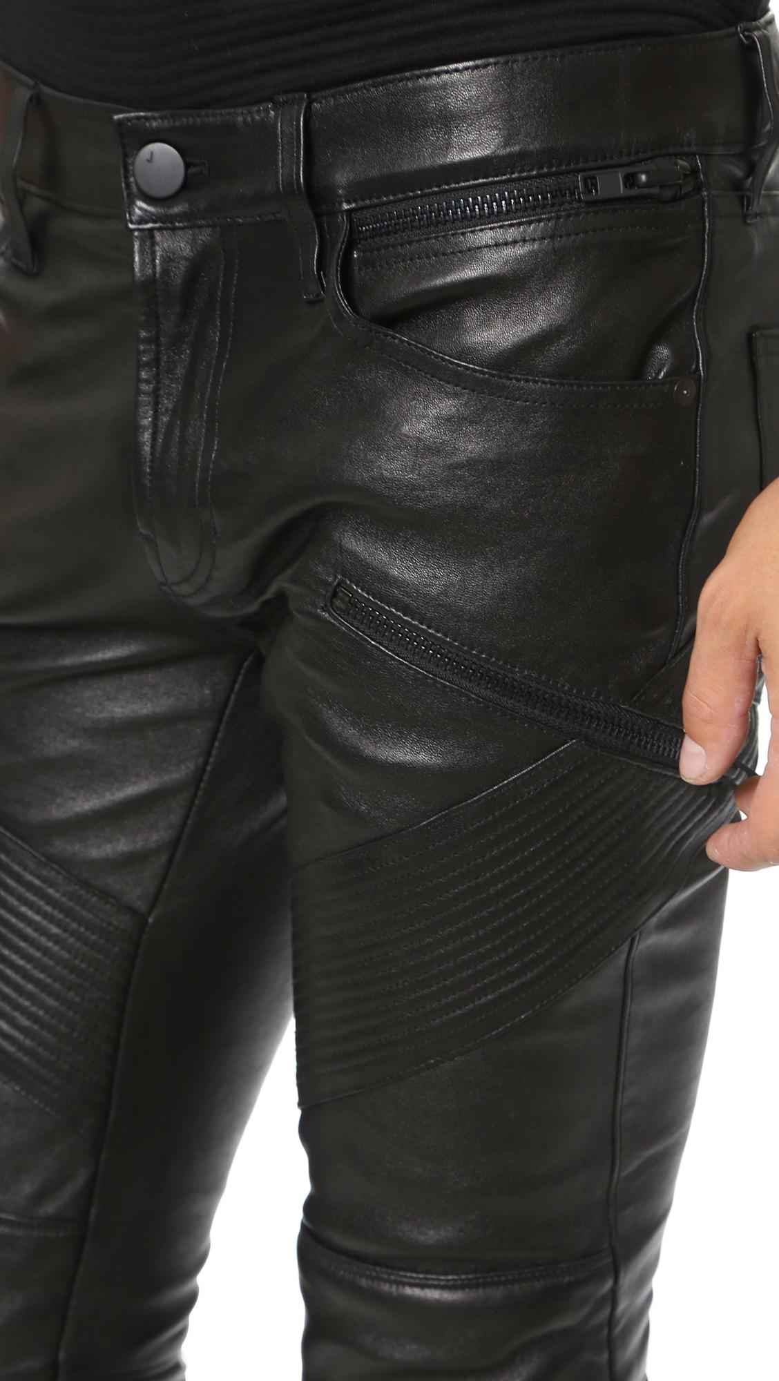 J brand Orton Leather Moto Pants in Black for Men | Lyst