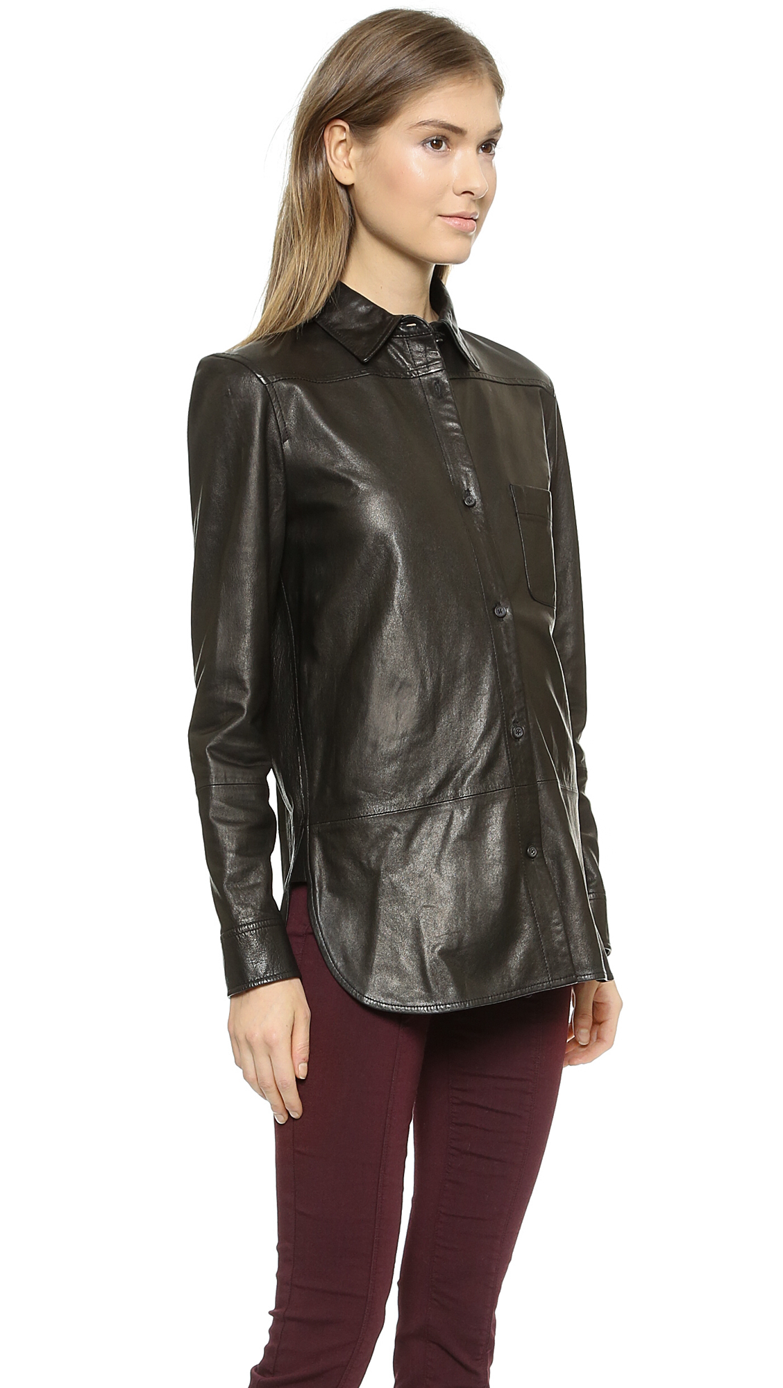 Vince Leather Button Down Shirt Black In Black Lyst