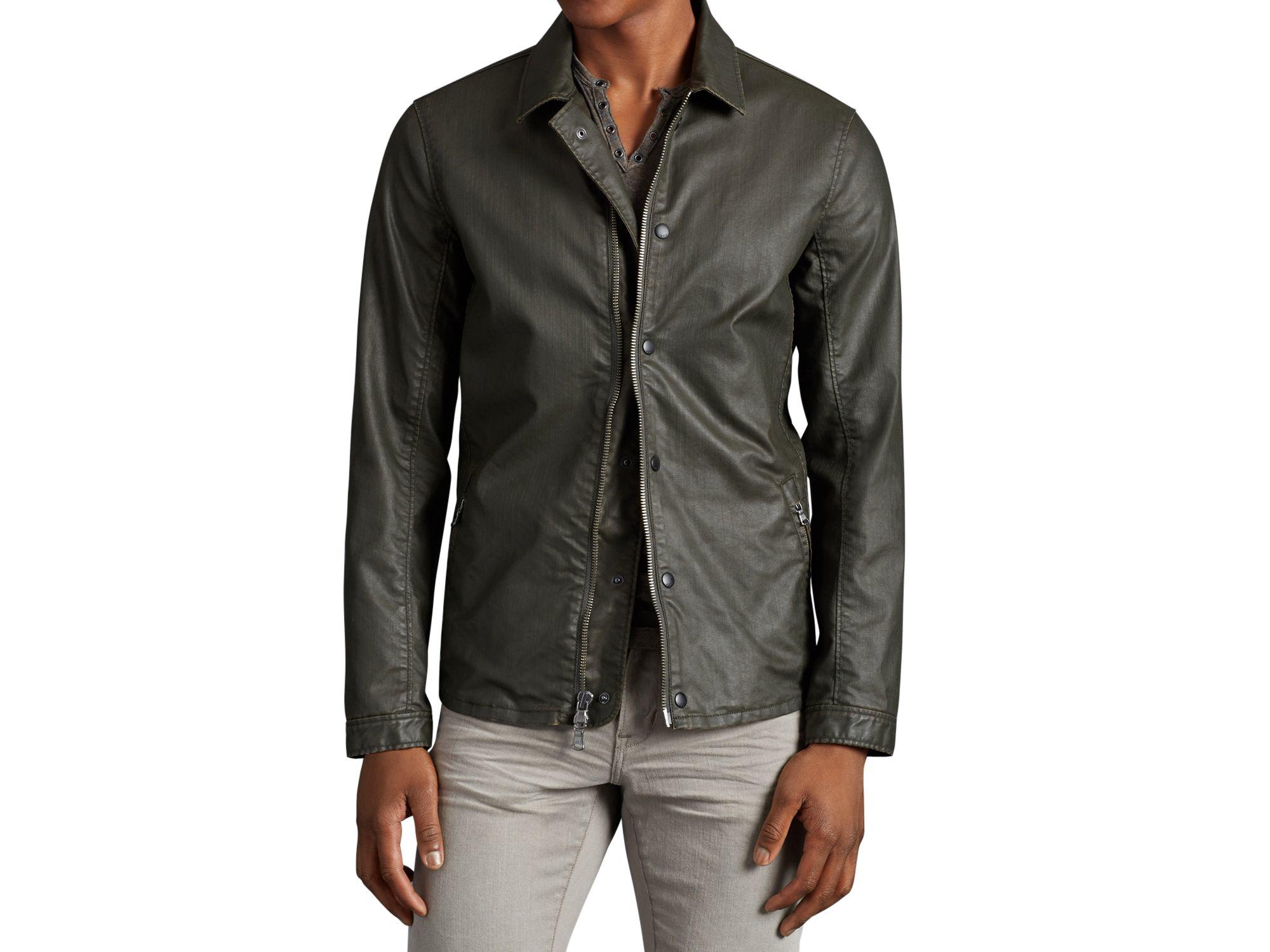 John varvatos John Varvatos Cotton Shirt Jacket in Green for Men ...