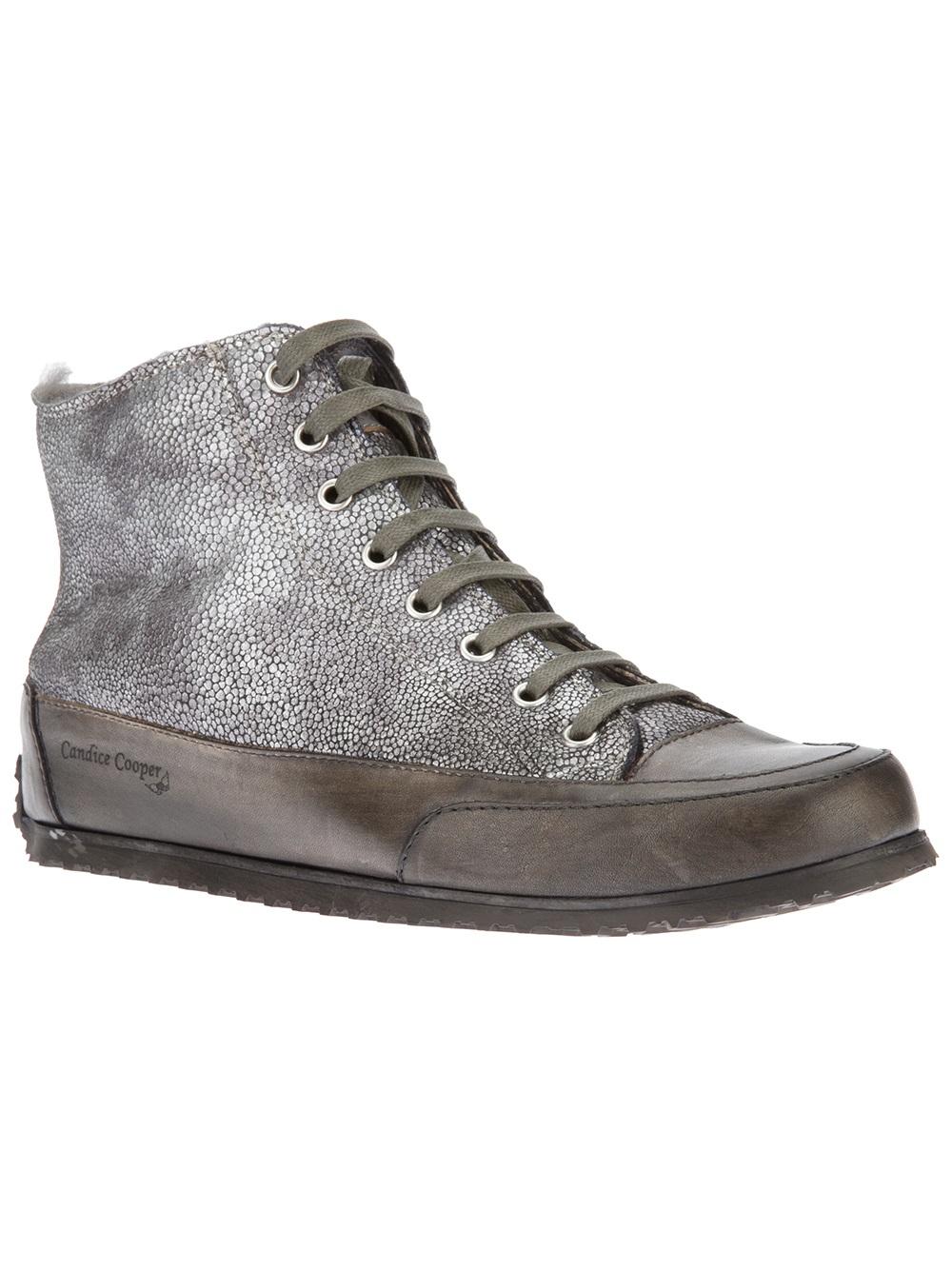 candice cooper metallic high top sneakers in gray lyst. Black Bedroom Furniture Sets. Home Design Ideas