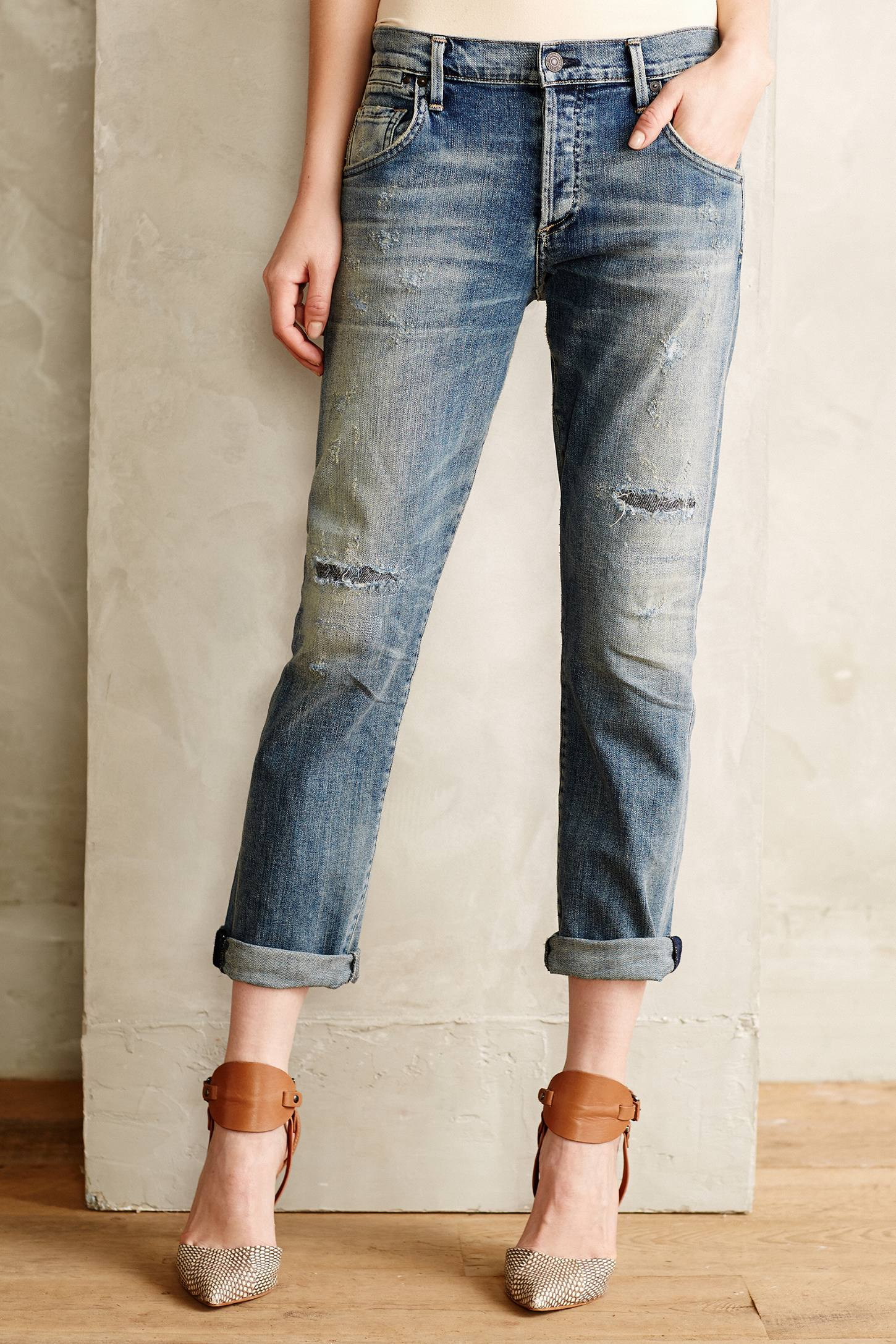 citizens of humanity emerson slim boyfriend jeans in blue renegade lyst. Black Bedroom Furniture Sets. Home Design Ideas