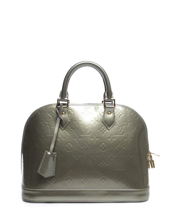 Louis vuitton pre owned gris monogram vernis alma pm bag for Louis vuitton silver alma miroir