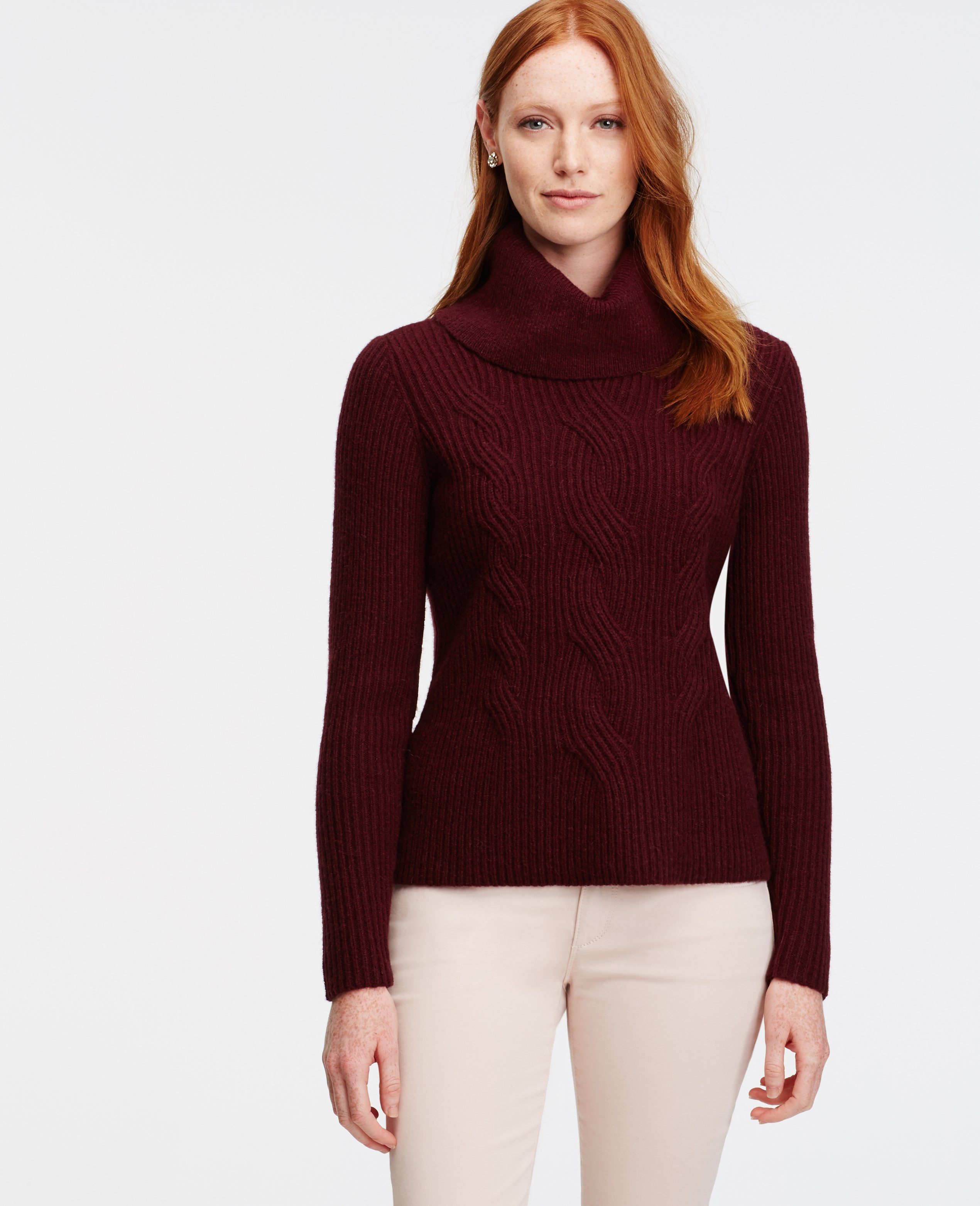 Ann taylor Petite Cowl Neck Cable Sweater in Purple | Lyst