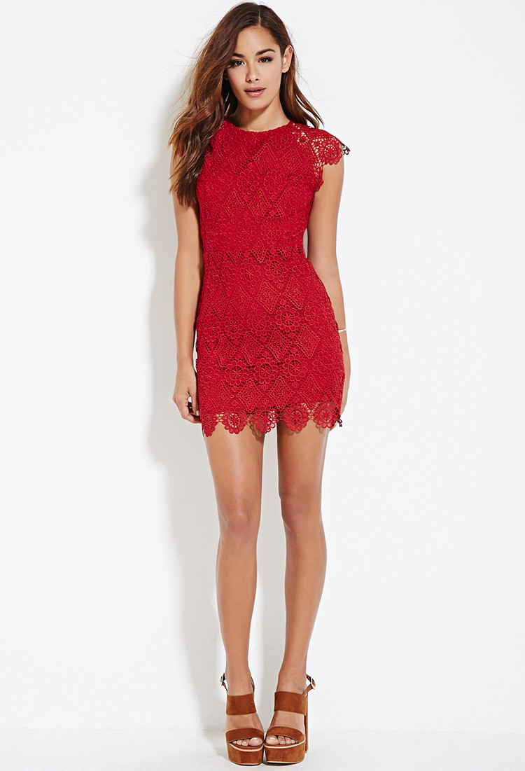 Forever 21 Crochet Lace Sheath Dress in Red  Lyst