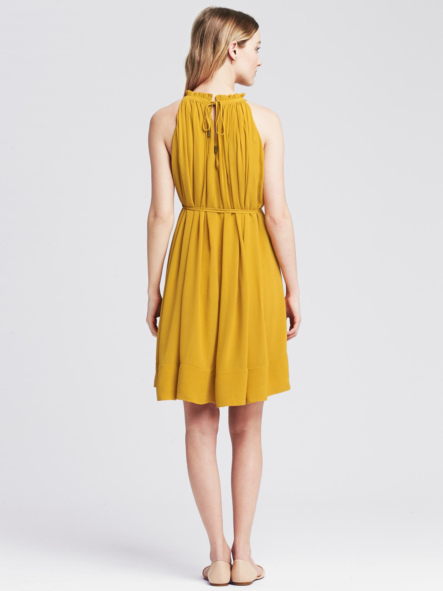 Banana Republic Synthetic Pleated Halter Dress In Yellow