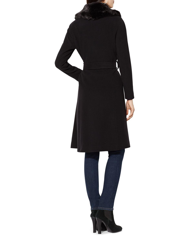 Ralph Lauren Lauren Faux Fur Collar Wrap Coat in Black - Lyst