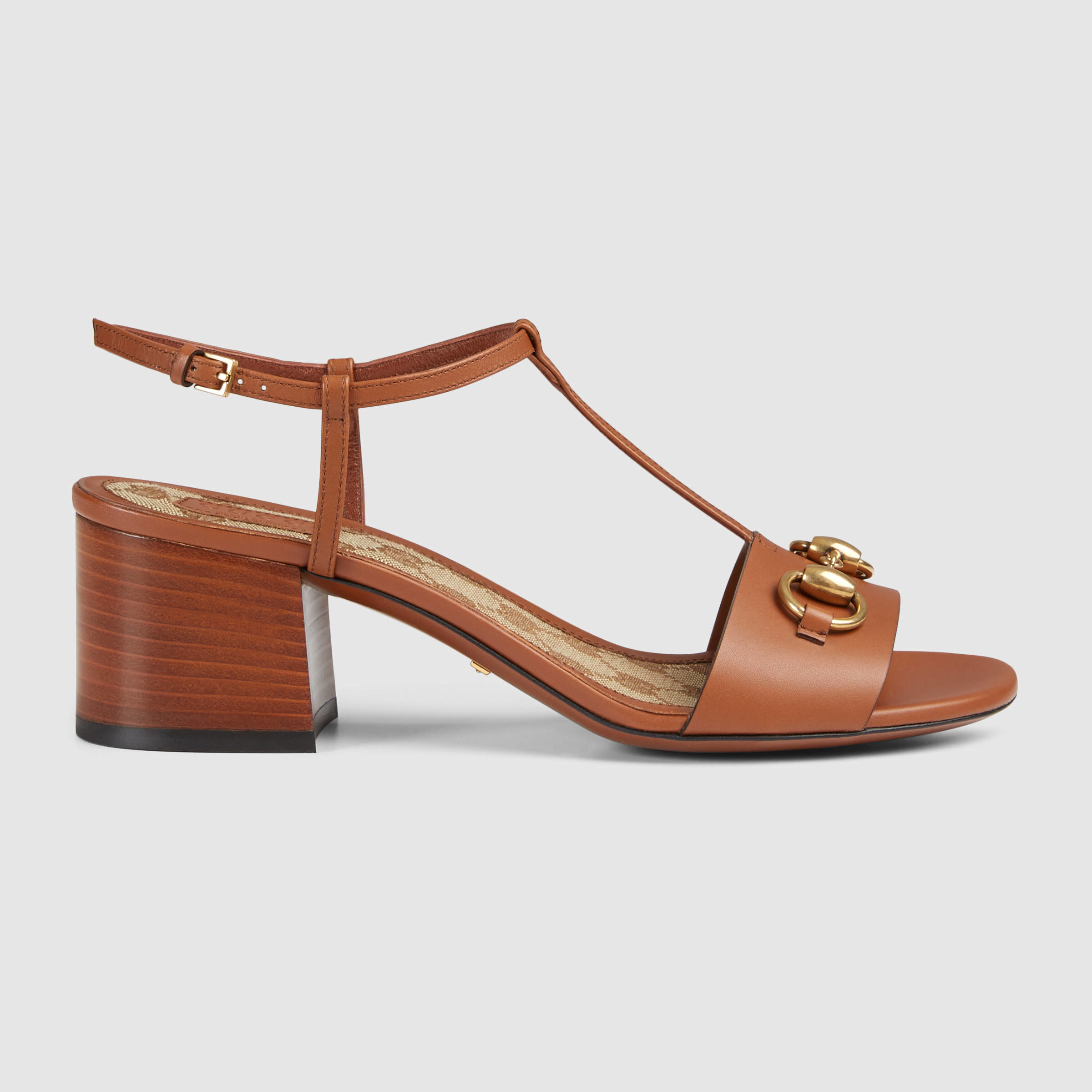 f0f915a91ce Lyst - Gucci Leather Mid-heel Sandal in Brown