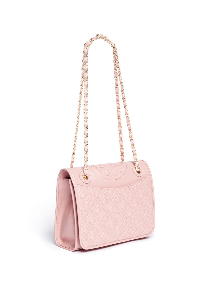 Lyst Tory Burch Fleming Medium Quilted Leather Bag In Pink