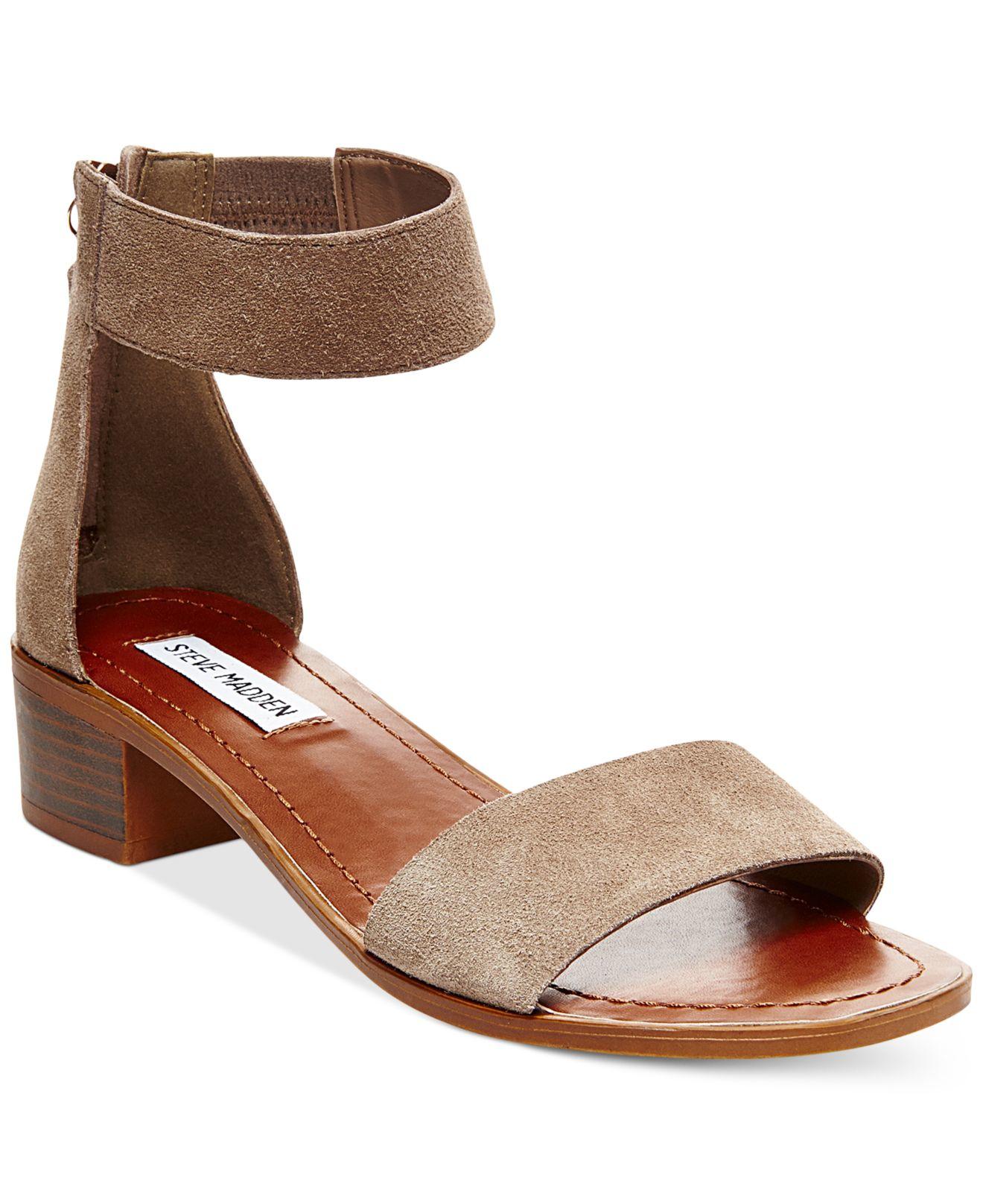 steve madden women 39 s darcie sandals in multicolor taupe suede lyst. Black Bedroom Furniture Sets. Home Design Ideas
