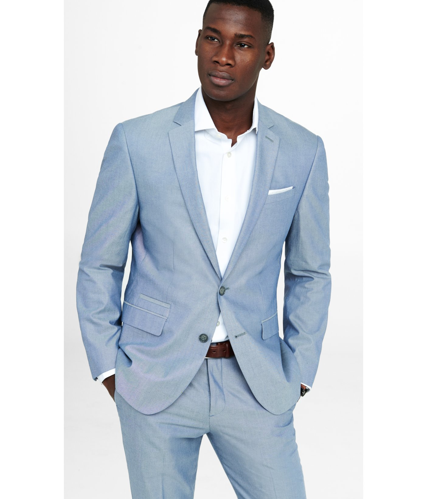 Men's Blue Oxford Cloth Photographer Suit Jacket