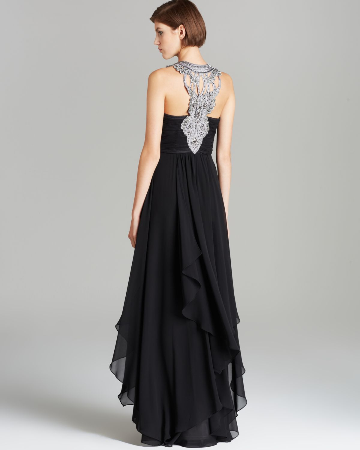 Sue Wong Gown Chiffon Embroidered Bust In Black Platinum