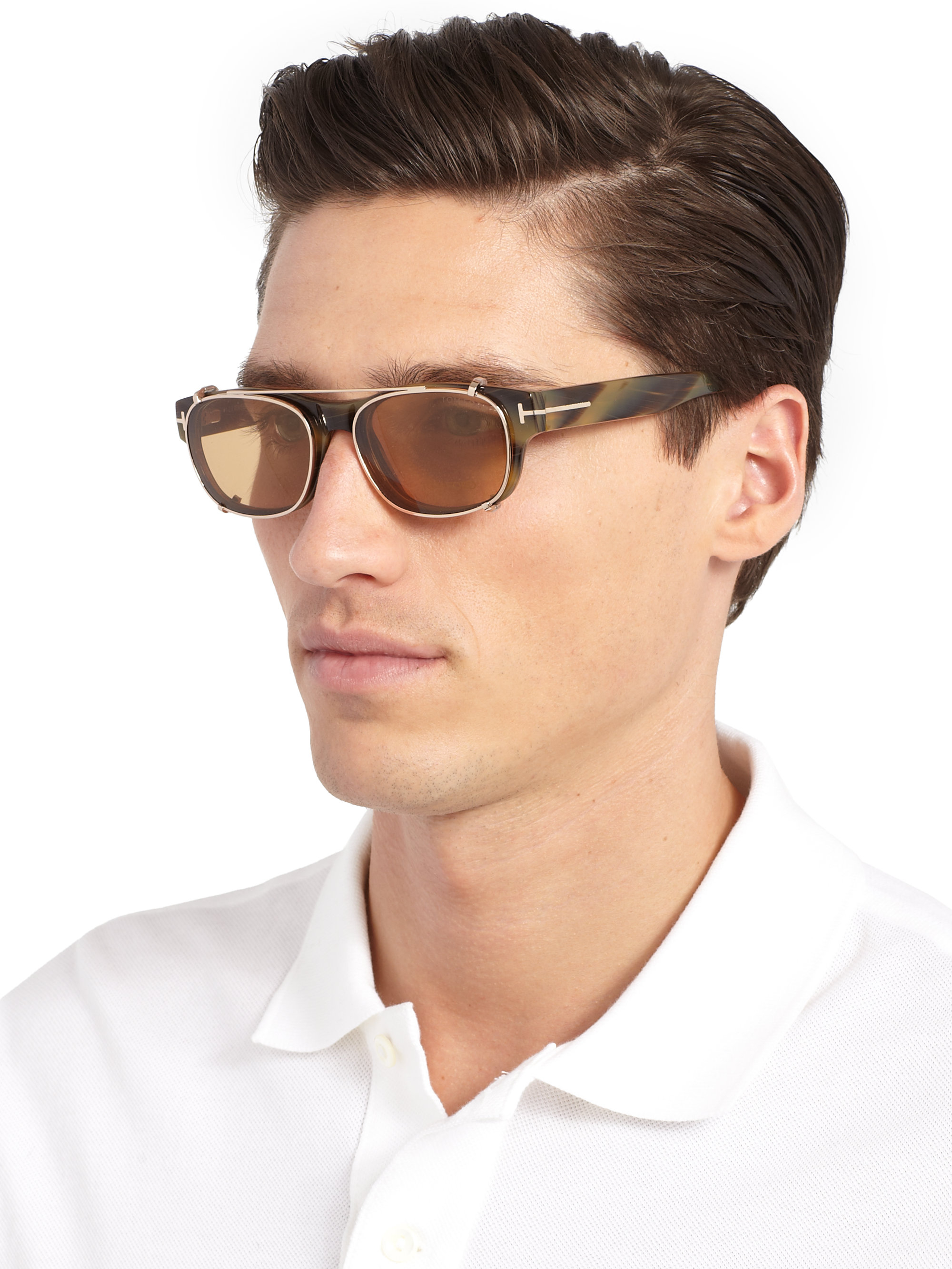 Tom Ford 5276 Optical Frames With Clip In Brown For Men Lyst