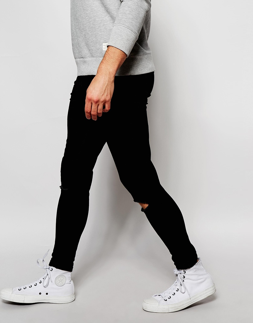 Black skinny jeans with ripped knee mens