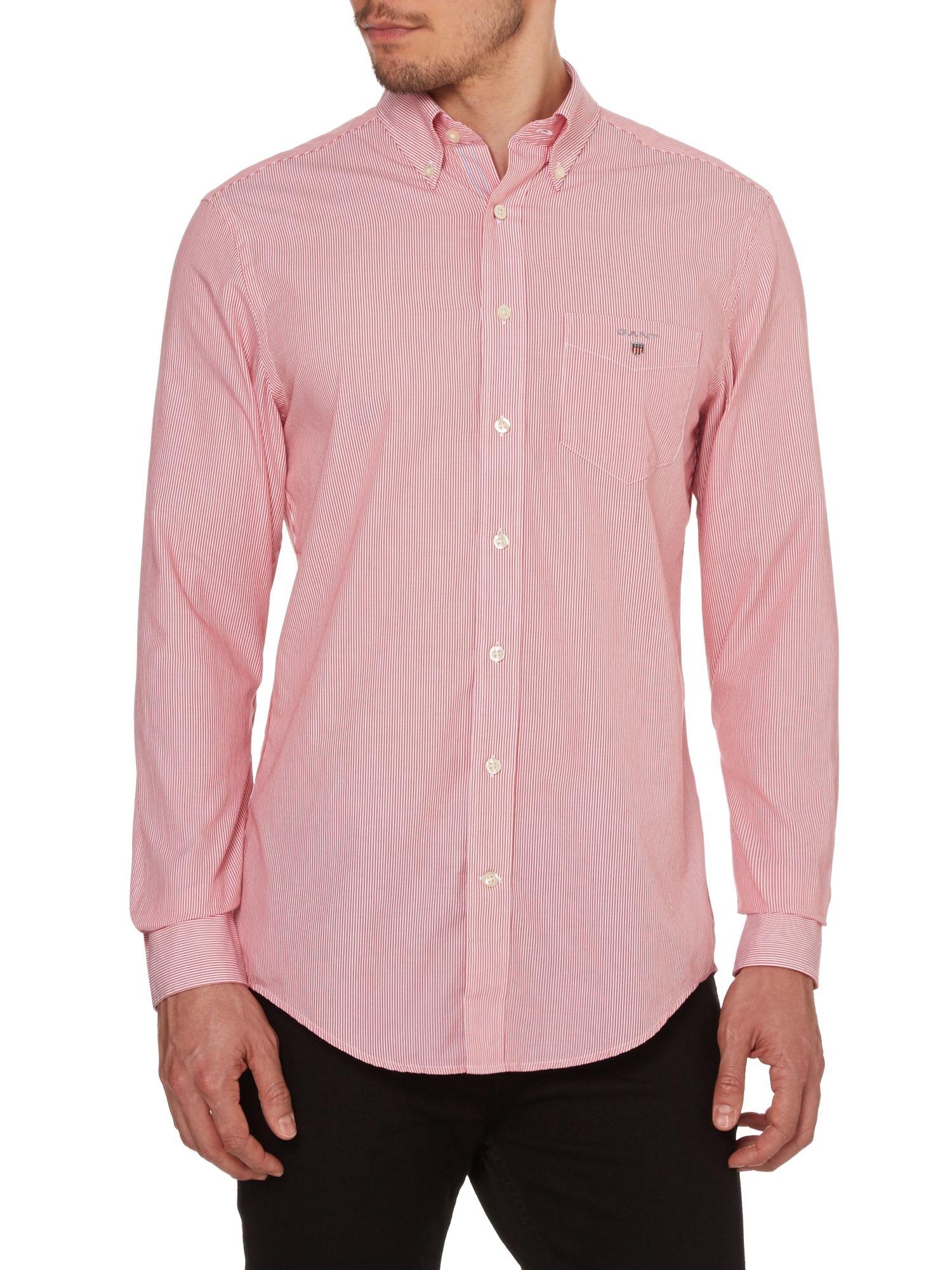 Gant poplin long sleeve shirt in red for men cranberry for Long sleeve poplin shirt