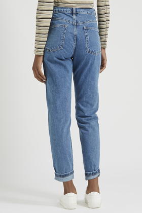 4b2ced353 TOPSHOP Petite Moto Vintage Mom Jeans in Blue - Lyst