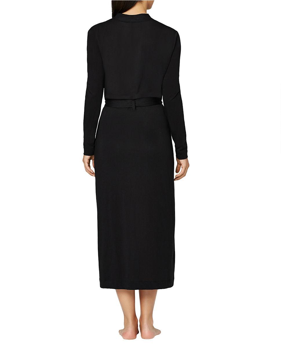 Lyst - Yummie By Heather Thomson Pima Jersey Long Robe in Black 668632ed6