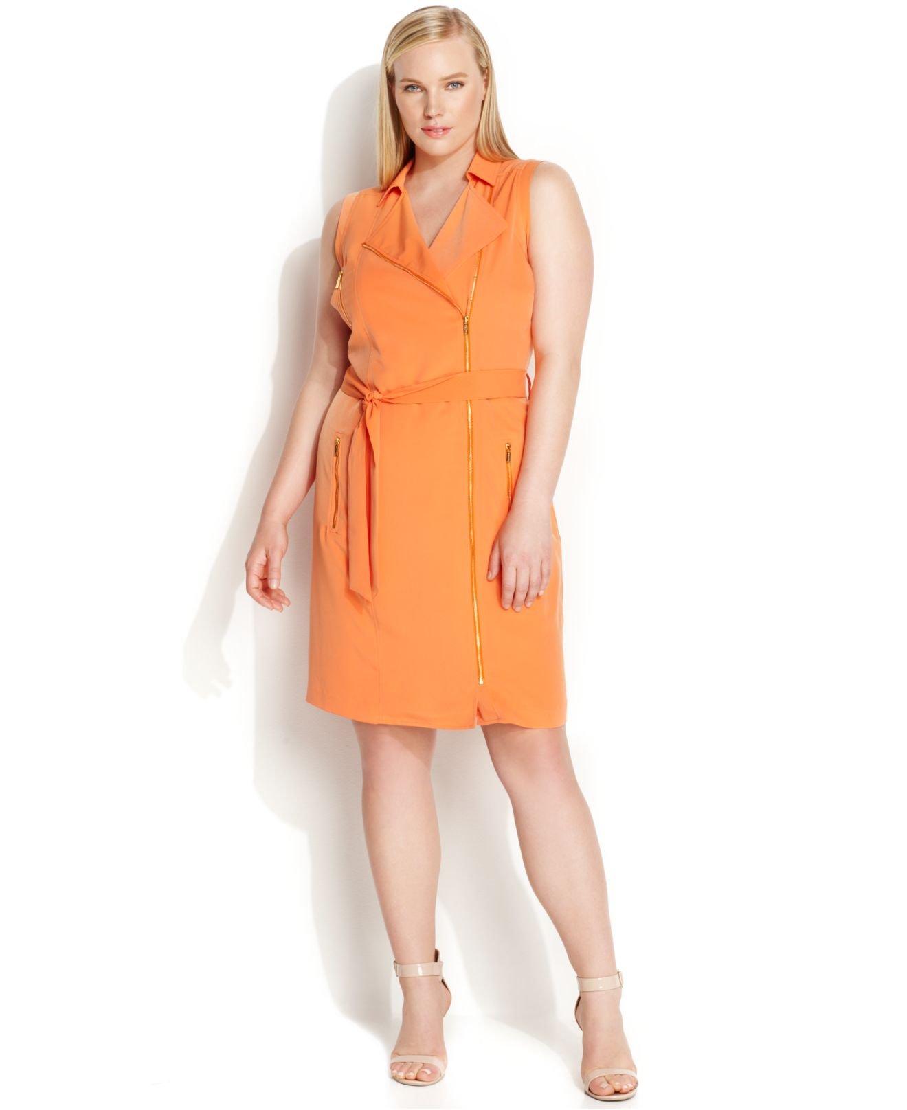 Lyst Calvin Klein Plus Size Sleeveless Zip Front Moto Dress In Orange