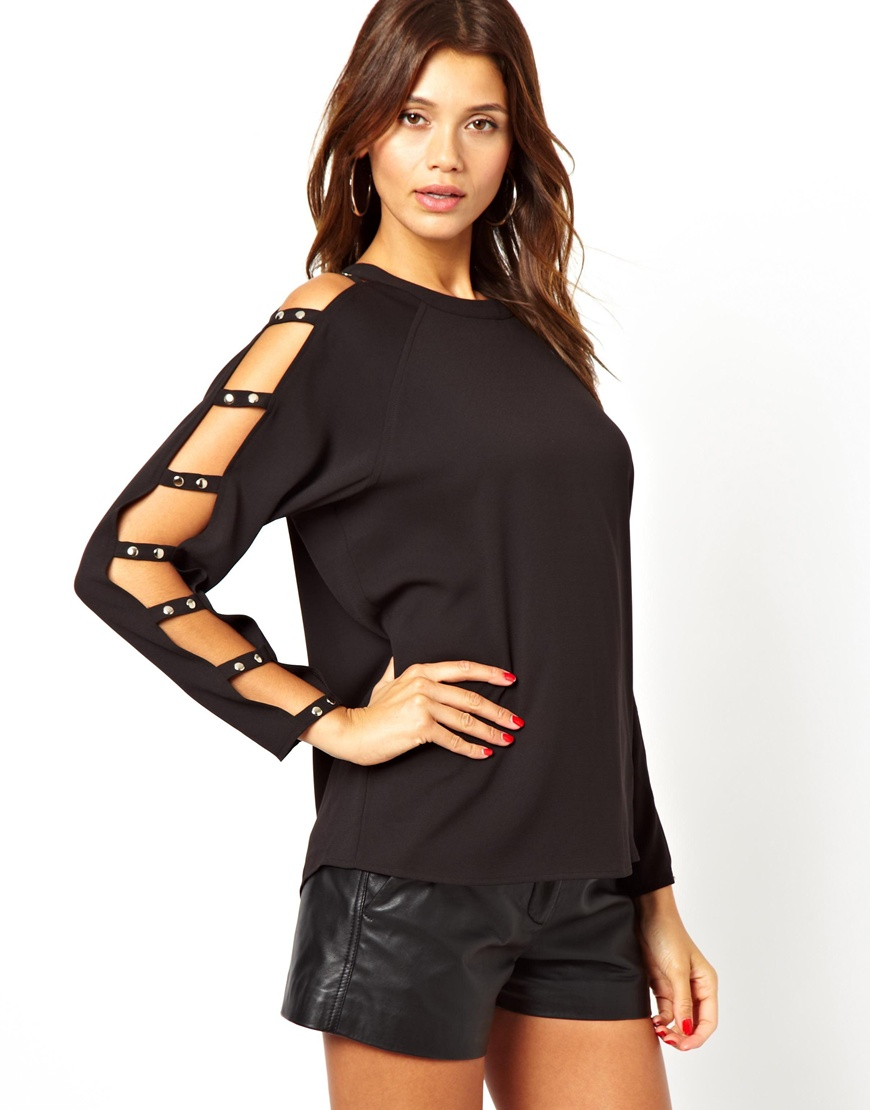 18642900c3 Lyst - ASOS Top with Cut Out Sleeve and Stud Detail in Black