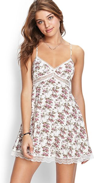 Forever 21 Lace Floral Cami Dress In Multicolor Cream