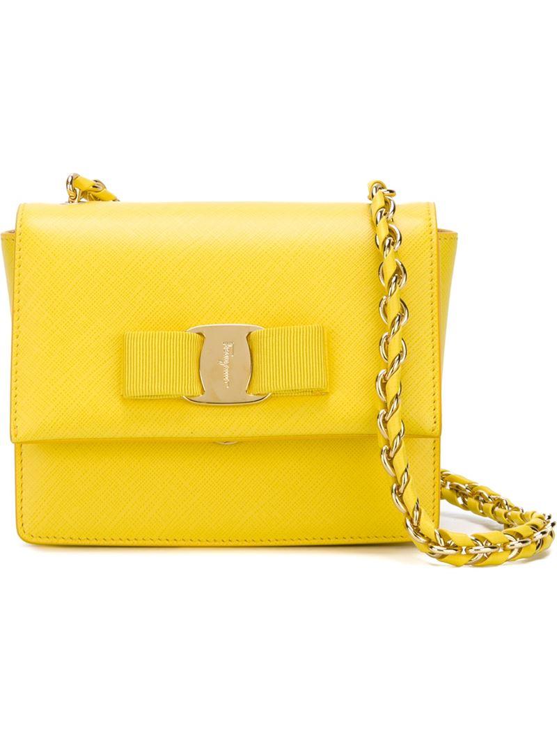 626cdbce32c8 Lyst - Ferragamo Ginny Leather Cross-Body Bag in Yellow