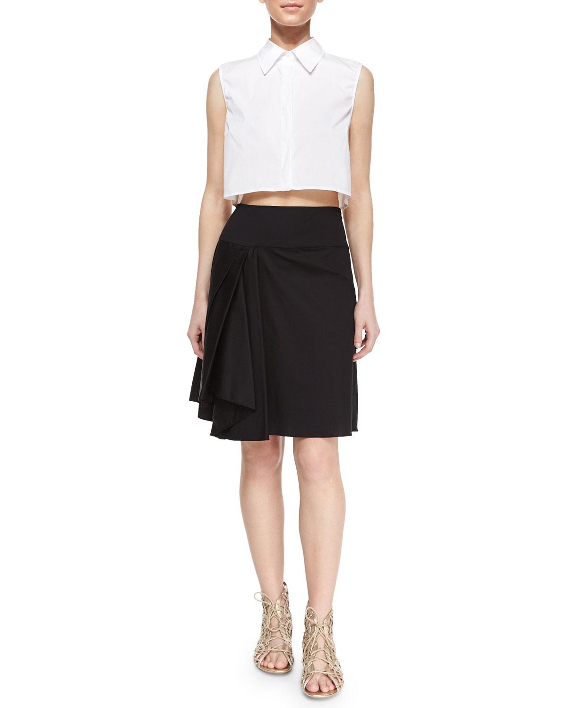 milly sleeveless cotton blend crop blouse asymmetric