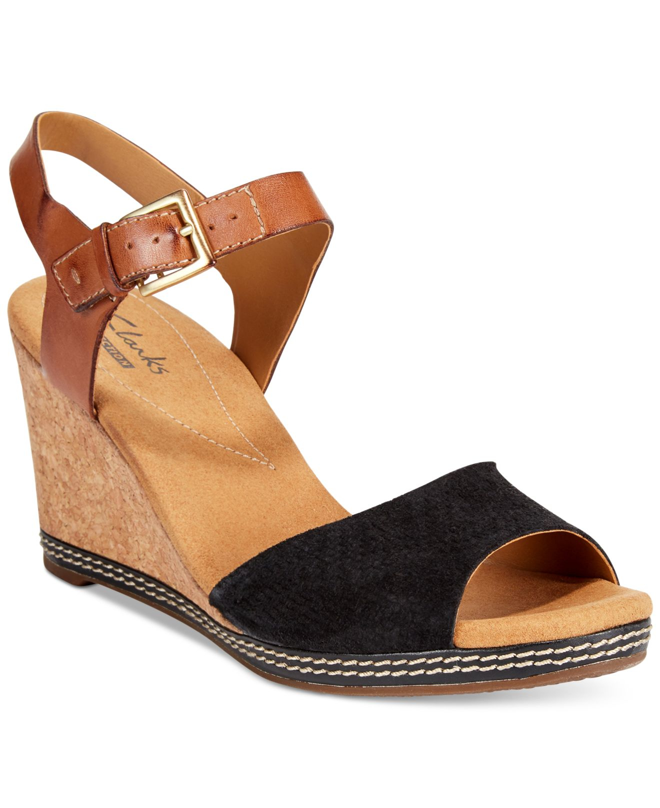 Original Closeouts Add Bohoinspired Style To Your Red Hot Summer Nights With Clarks Annadel Fareda Wedge Sandals! The Soft, Wide Nubuck Straps Crisscross For Visual Interest Atop The Cork Platform And Wedge Heel, And In Between, An
