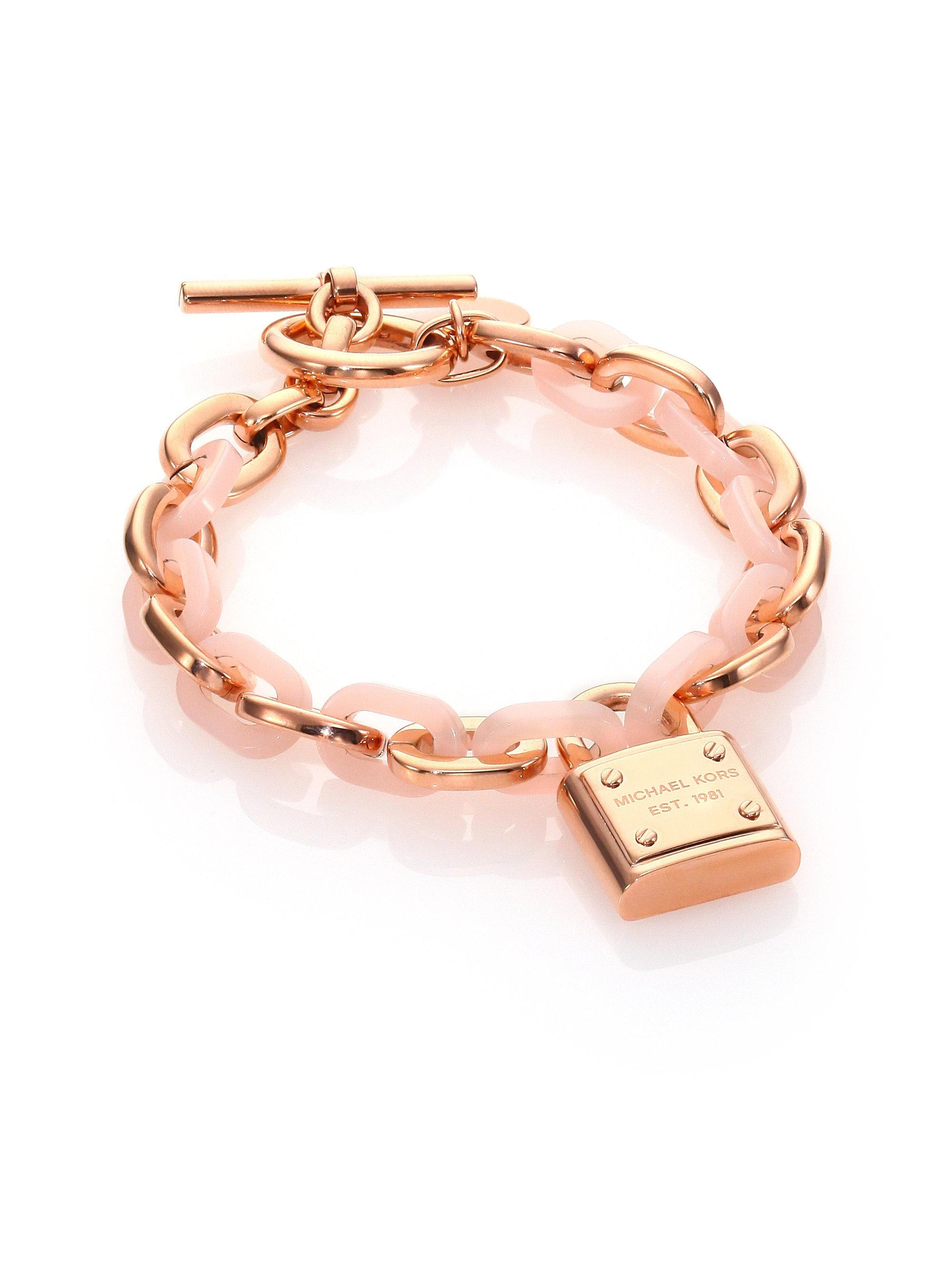 f46b2497a6924 Lyst - Michael Kors Rose   Blush Logo Chain Bracelet in Pink